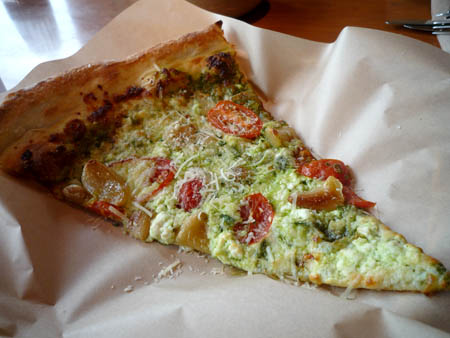 Special slice of the day: Pesto, tomato, garlic and feta
