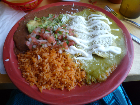 chicken enchiladas verde plate